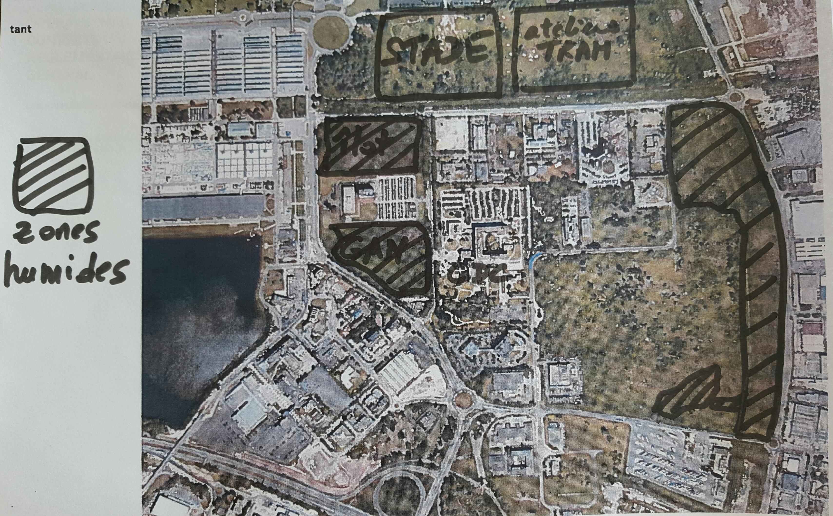 Plan aérien zones humides La Jallère
