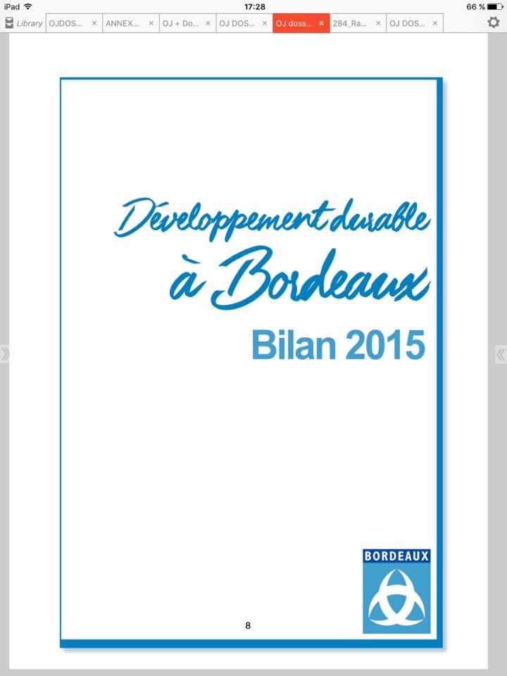 Rapport développement durable 2015 ville de Bordeaux