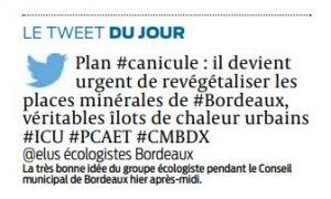 Plan canicule nécessaire revégétalisation places minérales de Bordeaux