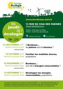 jeudis de l'ecologie EELV Bordeaux septembre à decembre 2017