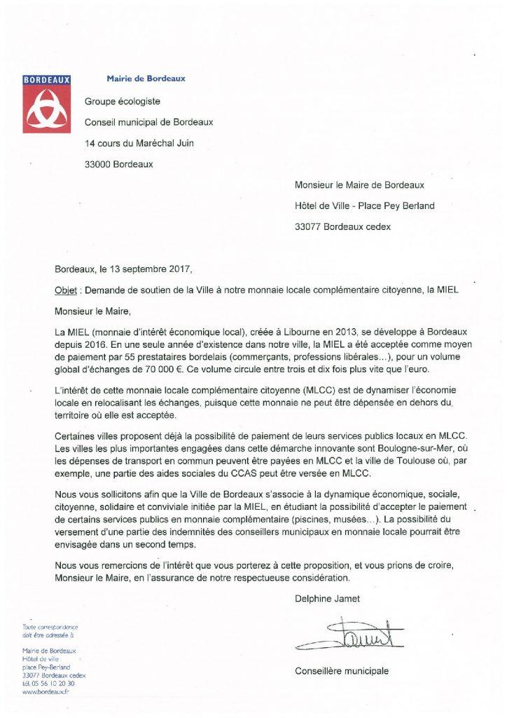 Lettre à Alain Juppé - demande de soutien de la MIEL