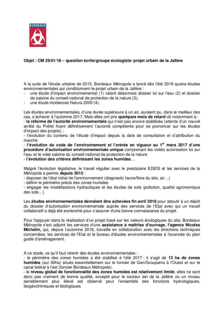 Réponse de la mairie de Bordeaux à notre question écrite sur le projet urbain de la Jallère