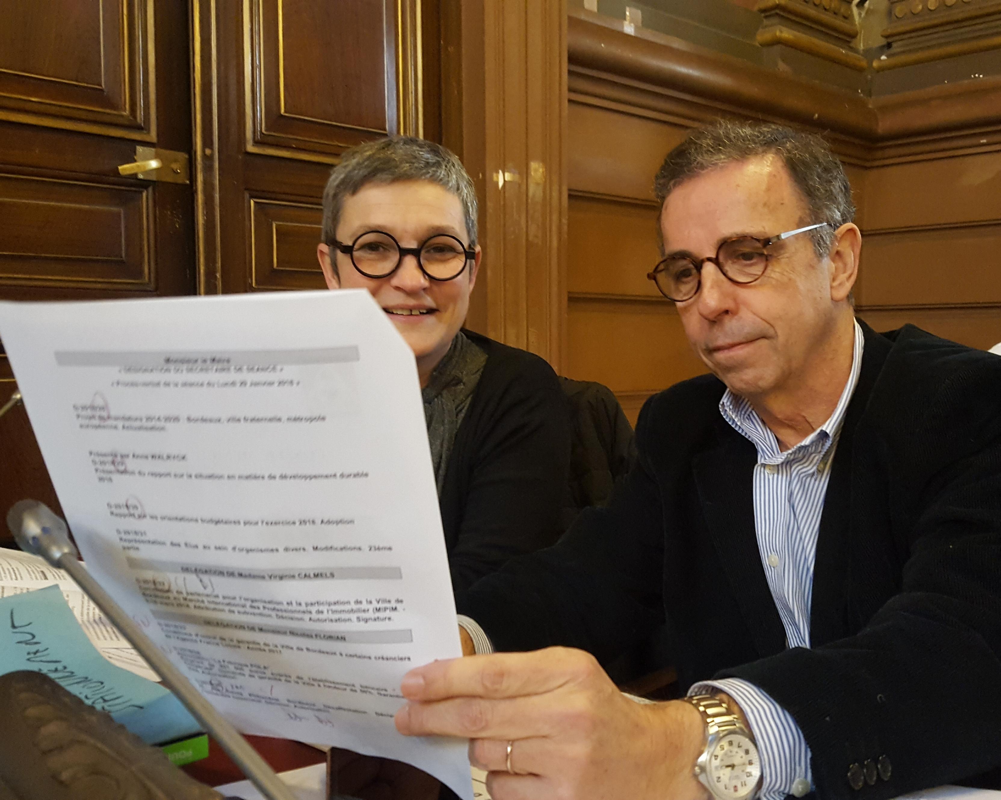 Pierre Hurmic Delphine Jamet conseil municipal de Bordeaux groupe écologiste
